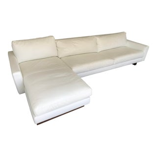 Room & Board Modern White Leather Sofa With Chaise