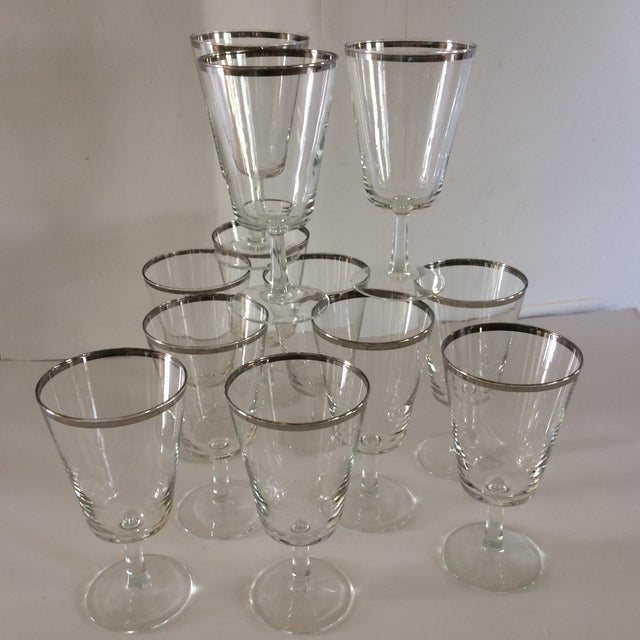 French Platinum Rim Crystal Cocktail /Water Glasses - Set of 12 For Sale - Image 11 of 11