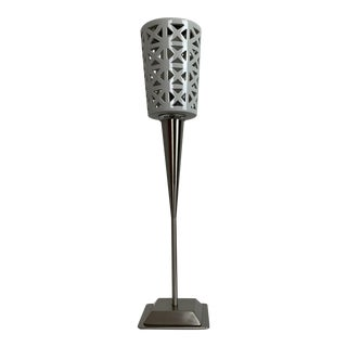 Oggetti White Porcelain and Brushed Steel Table Lamp For Sale