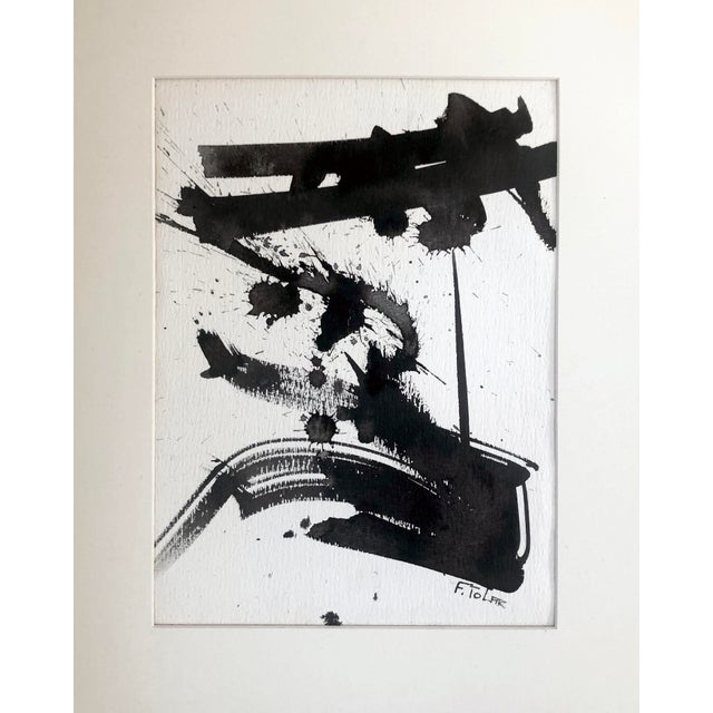 Vintage mid century modern abstract expressionist watercolor or ink painting in the manner of Franz Kline. Presented in...