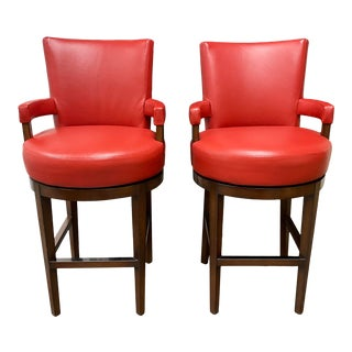Wheeler Design Group Custom Leather Swivel Bar Stools - a Pair For Sale