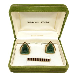 1960s Vintage Swank Jade Buddha Cufflink & Tie Bar Set For Sale