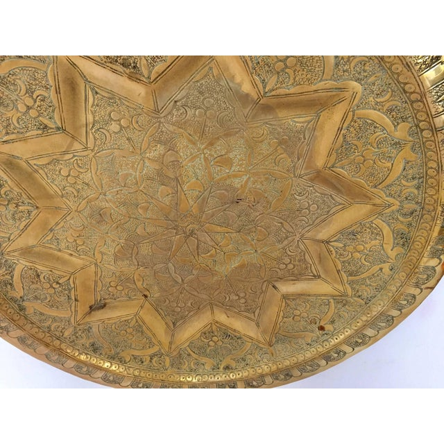 Middle Eastern Persian Antique Round Brass Tray For Sale In Los Angeles - Image 6 of 8