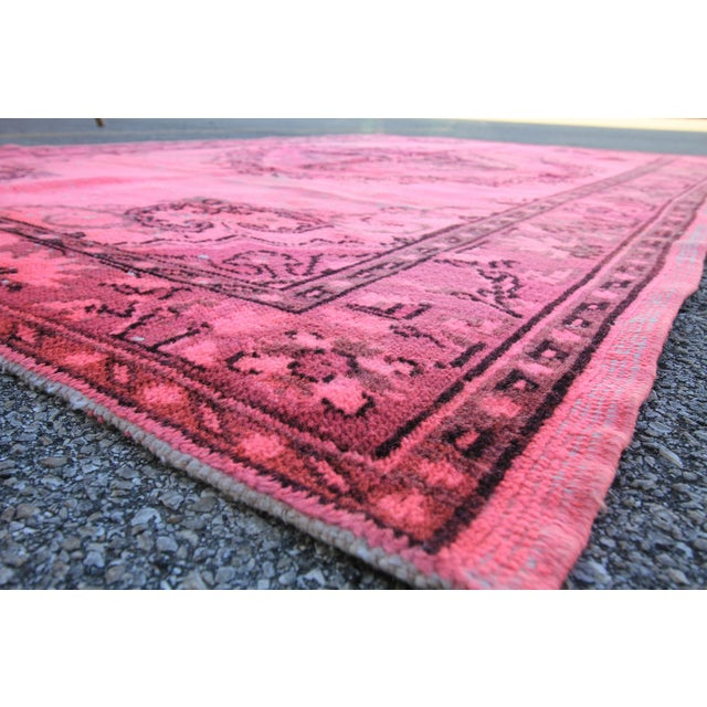 """Distressed Hot Pink Turkish Overdyed Rug - 5' X 7'10"""" - Image 4 of 5"""