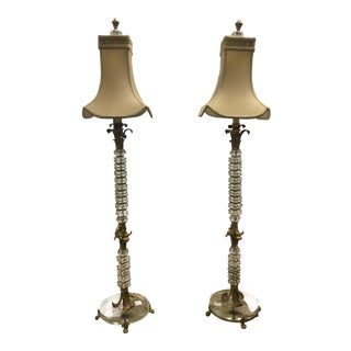Vintage Lucite Base Crystal & Brass Leaf Lamps - A Pair For Sale