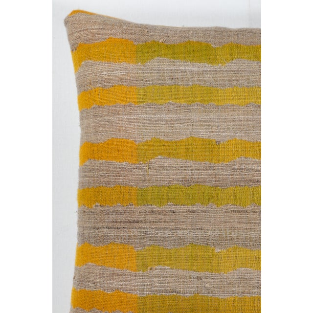 Contemporary Indian Handwoven Pillow Ocean Stripe Yellow For Sale - Image 3 of 6