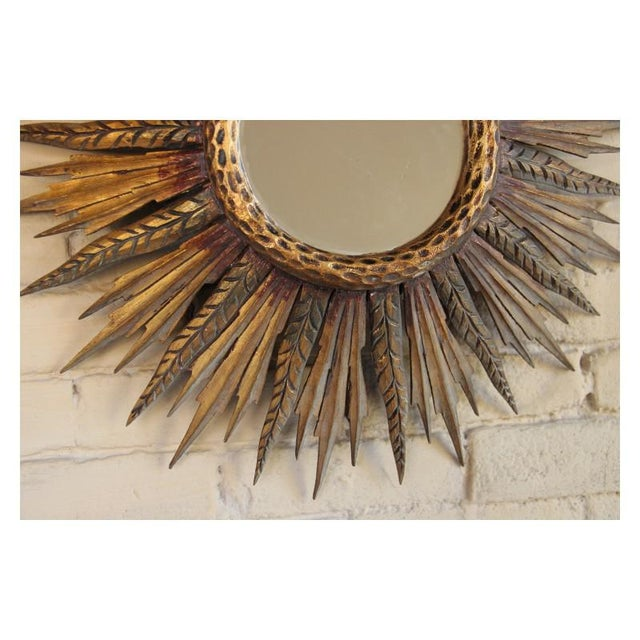 1930s Midcentury French Sunburst Mirror With Feathered Rays and Original Mirror Glass For Sale - Image 5 of 8