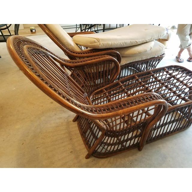 Vintage Wicker Rattan Chaise Lounges - A Pair For Sale - Image 5 of 9