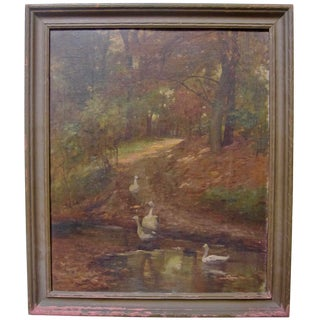 19th Century Antique Swans in Forest Landscape Oil Painting For Sale