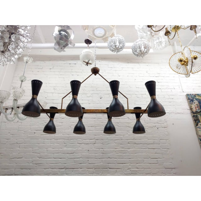 Modern Large Architectural Brass Chandelier For Sale - Image 3 of 8