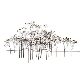 Curtis Jere Forest Trees Brass Wall Sculpture
