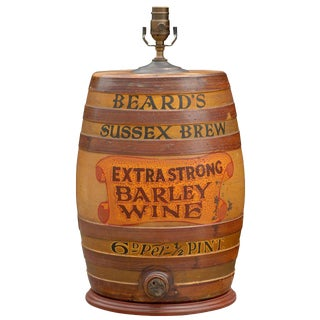 Large English Stoneware Spirit Barrel Lamp from the Late 19th Century