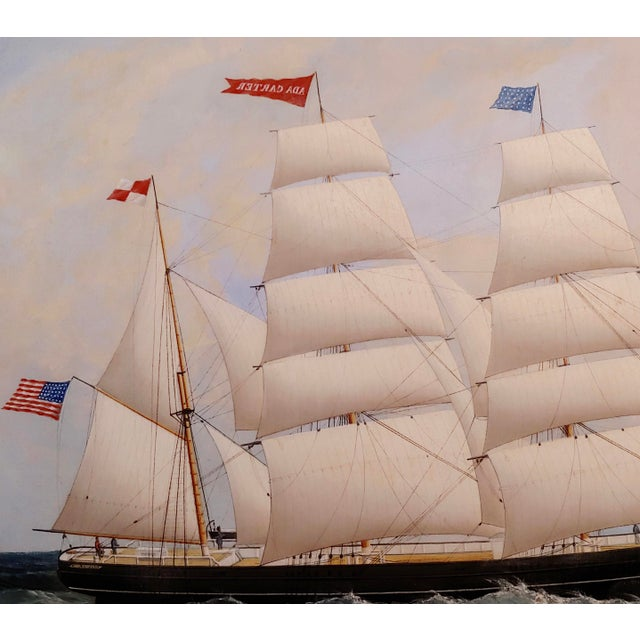 19th Century 19th Century Portrait of an American Sailing Ship- Oil Painting -C1860s For Sale - Image 5 of 12