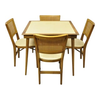Mid Century Modern Cane Game Folding Card Table Set - 5 Pieces For Sale