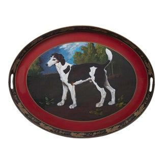 Vintage Oval Tray With Handpainted Dog in Forest For Sale