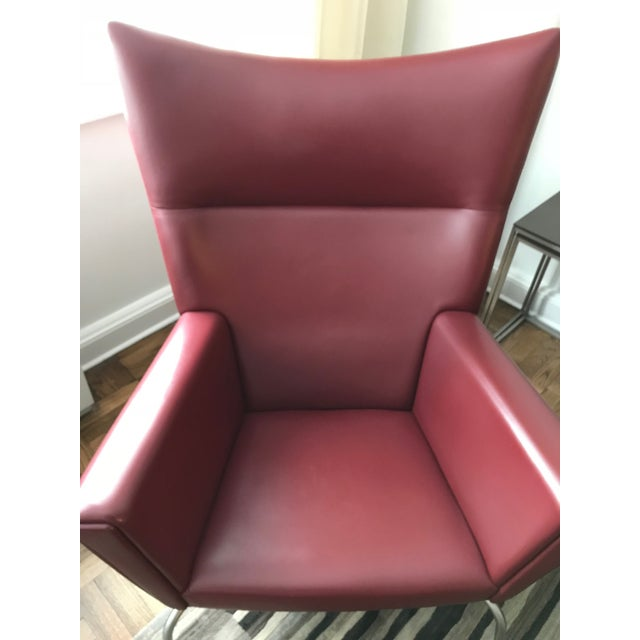 Hans J. Wegner for Carl Hansen & Søn Burgundy Wingback Chair and Ottoman For Sale - Image 9 of 11