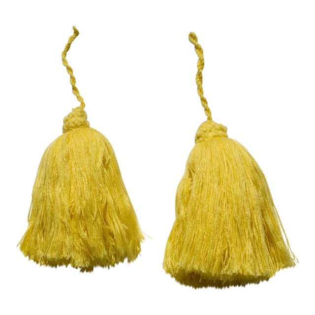 Yellow Moroccan Yarn Tassels - A Pair For Sale