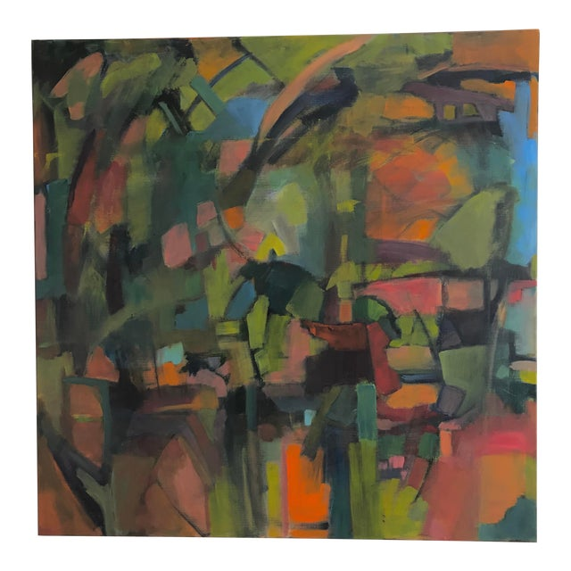 Deconstructed Forest Abstract Painting For Sale
