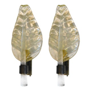 Gold Leaf Sconces by Fabio Ltd - a Pair For Sale