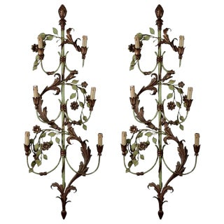 French Tall Six-Light Green & Gilt Tole Sconces - a Pair For Sale