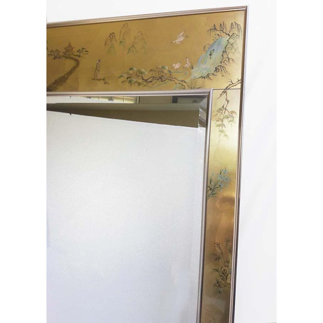LaBarge Gold Chinoiserie Reverse Painted Mirror With Brass Frame ...