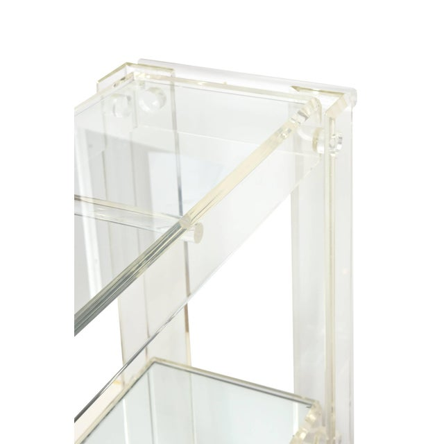 Transparent 1970s Modern Lucite Mirrored and Glass Two-Tier Bar Cart or Trolley For Sale - Image 8 of 10