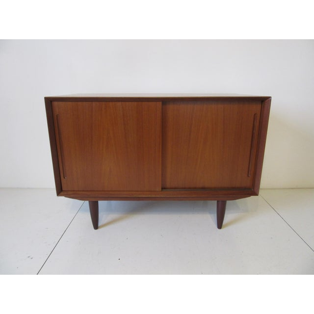 Brown Danish Teak Wood Smaller Sized Credenza For Sale - Image 8 of 8