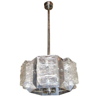Hexagonal Murano Glass Chandelier With Chrome Frame by Mazzega For Sale