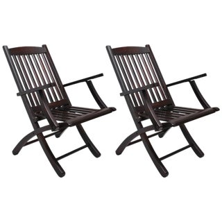Pair of Colonial British Folding Rosewood Deck Chairs