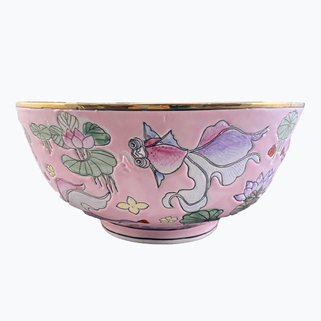 Very Beautiful and Unique Vintage Chinese Bowl With a Colorful Fancy Goldfish Motif on a Pink Background and a Gold Rim!