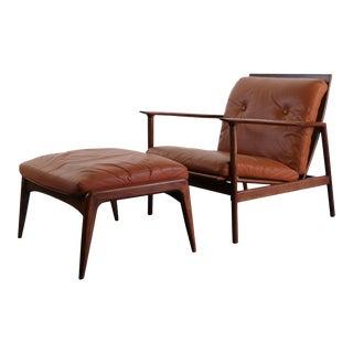 Gorgeous Danish Ib Kofod-Larson Lounge Chair With Ottoman For Sale