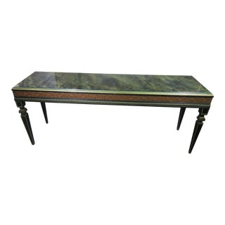 1950's Painted Console by Finer Furniture Company With Reverse Painted Faux Marble Glass Top For Sale