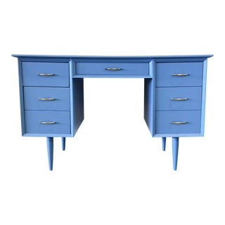 1960s Mid-Century Modenr Blue Lacquer Tanker Desk/Vanity For Sale