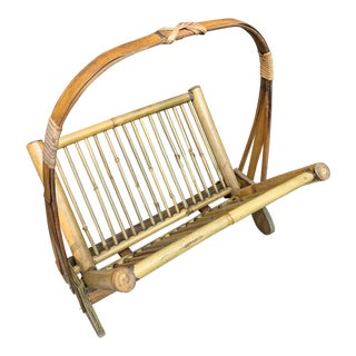 Vintage Bamboo Rattan Folding Magazine Rack For Sale