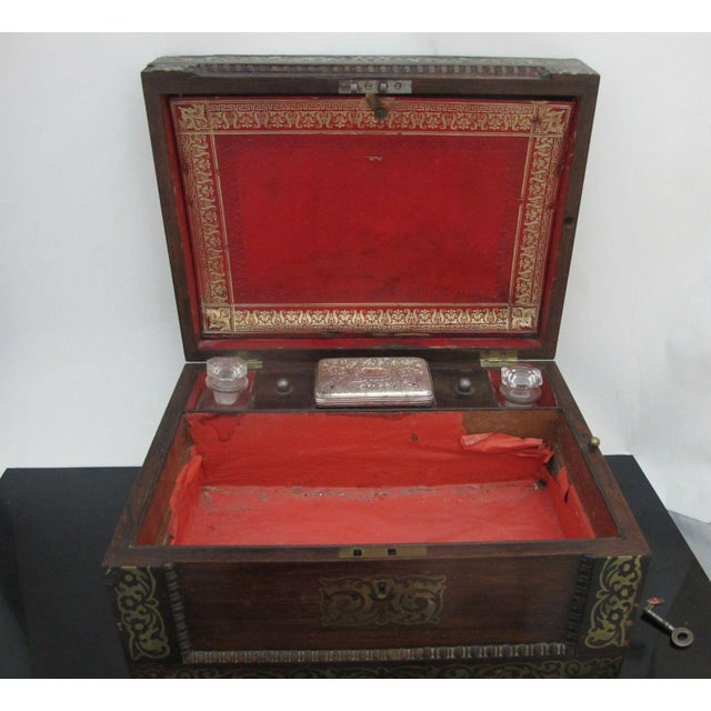 Victorian Antique Wood Vanity Jewelry Box Glass with Sterling Silver Jars & Key Betty Mono For Sale - Image 3 of 12