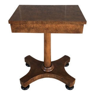 Baker Furniture Burl Walnut Regency Style Accent Table For Sale