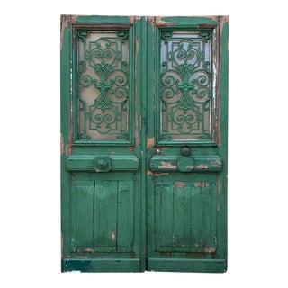 19th Century Exterior Doors With Wrought Iron - a Pair For Sale