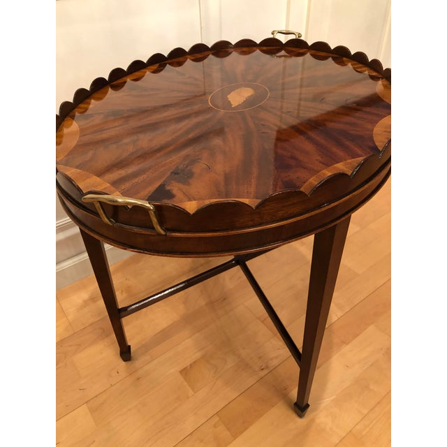 Baker Furniture Company Mid-Century Modern Baker Furniture Collector's Edition Scalloped Tray Table For Sale - Image 4 of 11