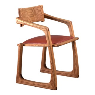 Ed Steckmest Studio Craft Chair with Leather Seat, USA, 1970s For Sale