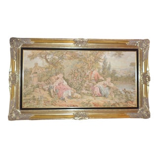 Hollywood Regency Gold Leaf Frame With Period Tapestry For Sale