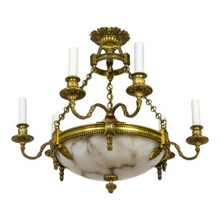 Belle Epoque Alabaster Bowl & Gilt Bronze Twin Arms Chandelier For Sale