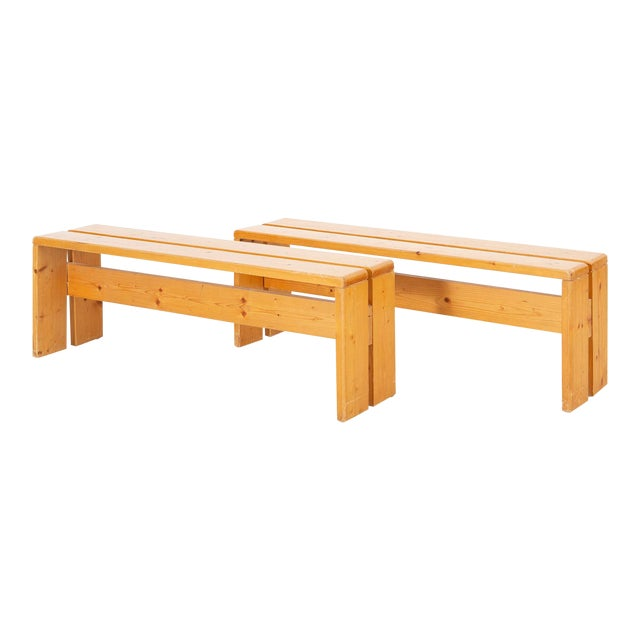 Pair of Les Arcs Pine Benches by Charlotte Perriand For Sale
