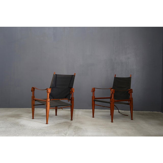 Brown Pair of Vintage Safari Chairs by Kaare Klint for Rud. Rasmussen For Sale - Image 8 of 8
