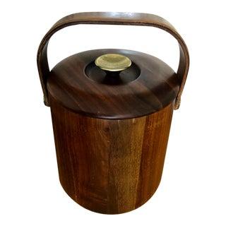 Vermillion Mid-Century Modern Wooden and Brass Ice Bucket For Sale