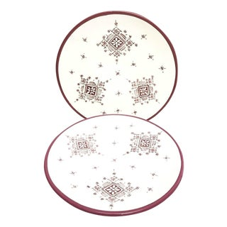 Moroccan Hand Painted Burgundy Large Plates - A Pair For Sale