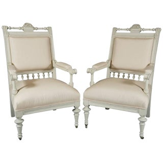 19th Century Aesthetic Movement Danish Armchairs - a Pair