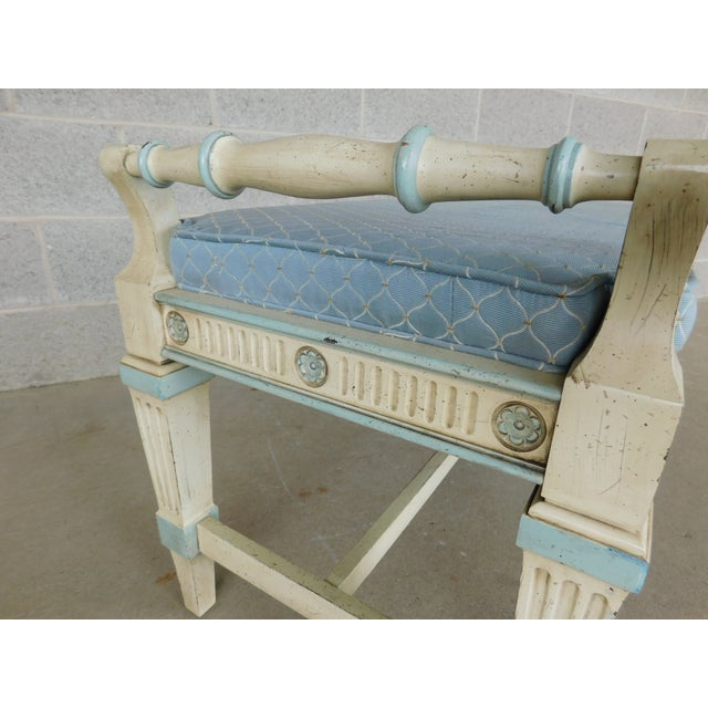 Hickory White Regency Style Paint Decorated Window Accent Bench For Sale In Philadelphia - Image 6 of 9