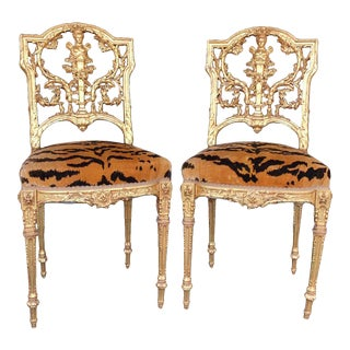 Hand Carved Wood Chairs- A Pair For Sale