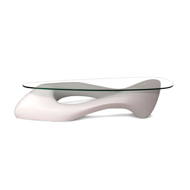 Not Yet Made - Made To Order Amorph White Lust Coffee Table With Organic Shape Glass Top For Sale - Image 5 of 10