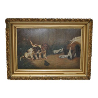"""Late 19th Century Oil Painting """"Puppies Find a Frog"""" c.1890s"""